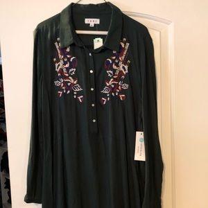 Tops - Green tunic length shirt/dress